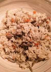 活力鍋で鶏ごぼうの炊き込みご飯