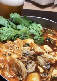 かき豆腐の土手鍋 韓国風 簡単で美味しい