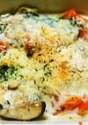 鮭とねぎとしいたけの味噌グラタン