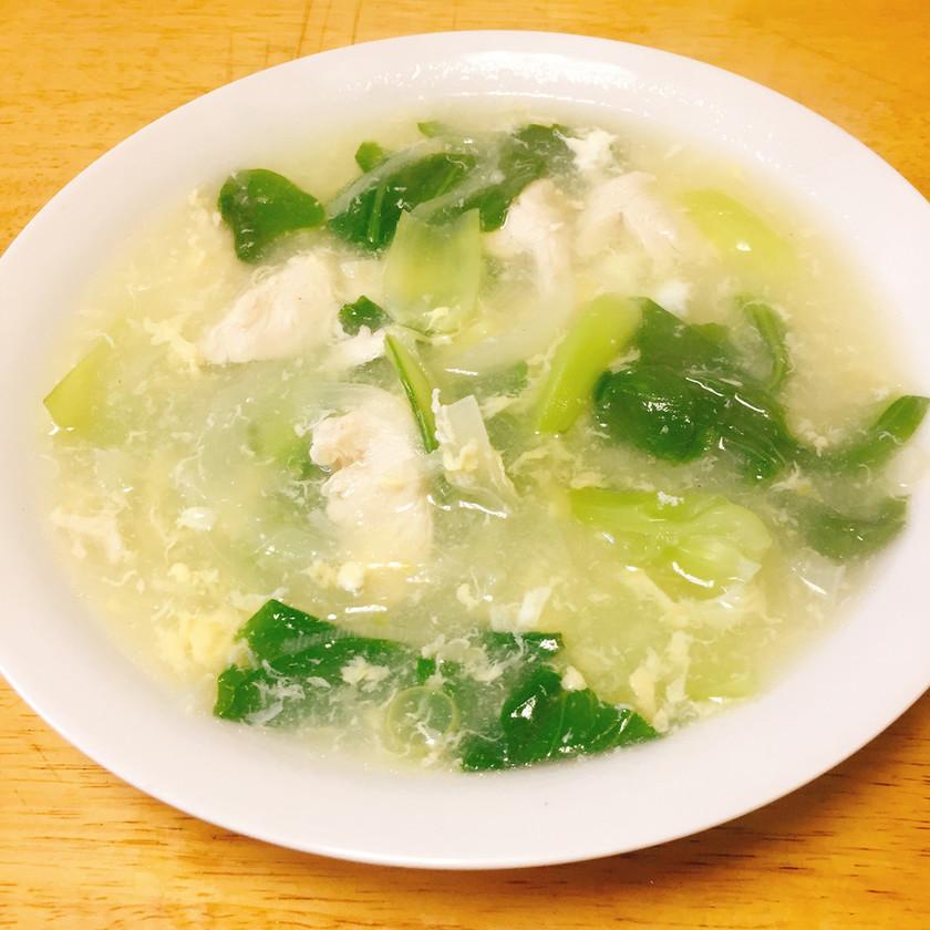 玉ねぎと青梗菜の卵スープ