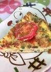 納豆とジャコ、プチトマトのオムレツ