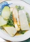 ちくわと青梗菜とサトイモのショウガ煮