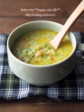 ブロッコリーと人参のカレー豆乳スープ