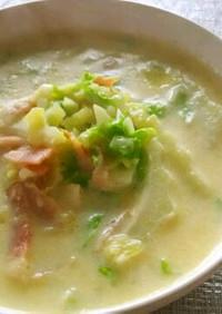 白菜とジャガイモのとろ~り豆乳スープ