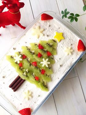 スコップケーキでクリスマスツリーケーキ