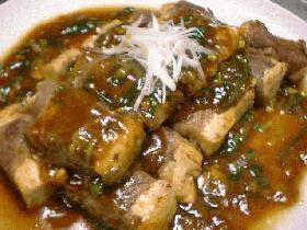 豆腐の牛肉巻き中華あんかけ