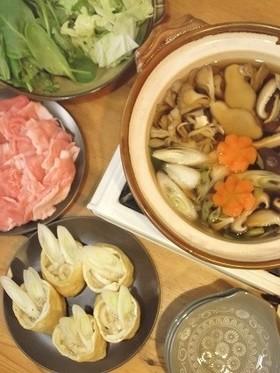 生姜醤油きのこつゆで しゃぶしゃぶ鍋