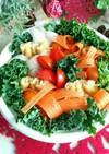 リボン野菜とお楽しみ巾着のカレー豆乳鍋