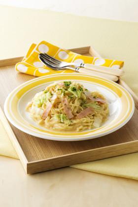 生姜風味の豆乳カルボナーラ風ラーメン☆
