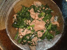 豚肉と春菊のオイスター炒め