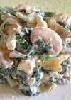 春菊とマッシュルームのザーサイ醤油チーズ