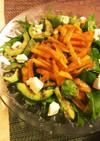 超簡単♪水菜と柿の柚子ドレッシングサラダ