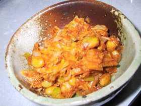大豆と湯葉のコチュジャン炒め