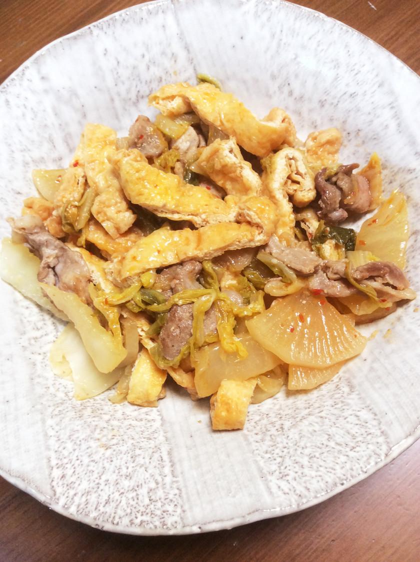 豚肉と白菜と大根と薄上げのピリ辛煮