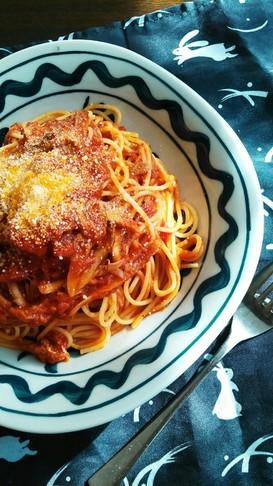 舞茸とツナのトマトソーススパゲッティ