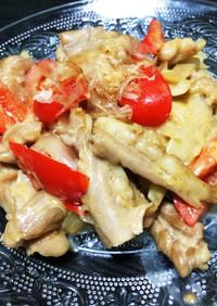鶏肉せせりと玉ねぎのマヨポン酢炒め
