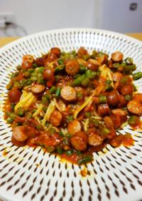 ソーセージとインゲン豆のトマトパスタ