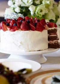 苺のココアスポンジケーキ