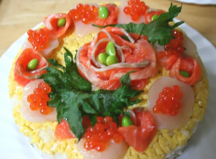 可愛いお花の寿司ケーキ