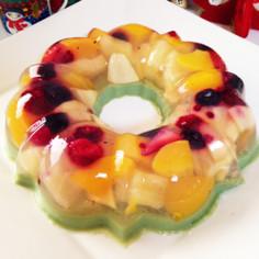 クリスマス☆抹茶ミルクとフルーツのゼリー