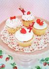 苺ショート風 クリスマスカップケーキ