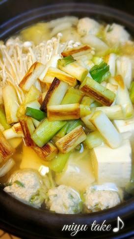 白葱と鶏つくねの♡塩生姜鍋♪温まる〜
