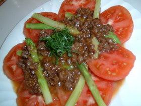 トマトとアスパラの肉味噌ドレッシング