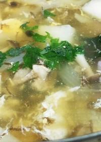 大根と玉ねぎ・卵のぽん酢鍋