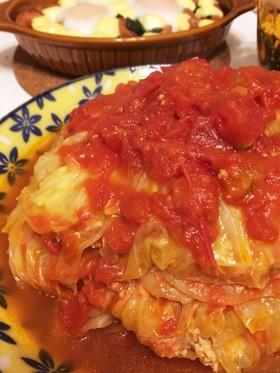 キャベツひき肉重ね煮〜和風トマト