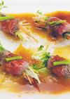 福島牛タタキ彩り野菜巻きポン酢ジュレのせ