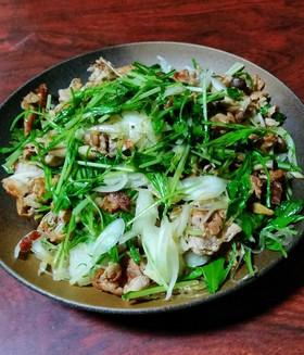 豚肉と水菜と春雨のさっぱり炒め