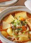 簡単!たっぷり野菜と厚揚げのチゲ煮込み