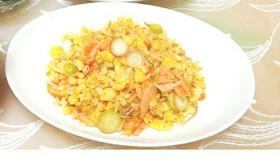 塩鮭とみょうがの簡単パラパラ炒飯