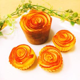 簡単☆豪華‼︎りんごの薔薇カップケーキ
