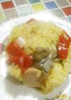 サフランと魚肉ソーセージの炊き込み飯