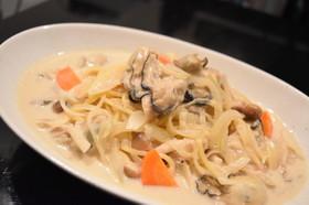 牡蠣と豆乳のスープパスタ