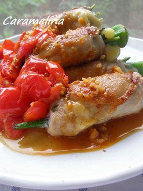 豚肉オクラロール*プチトマトソース