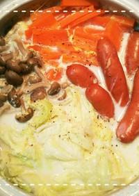 土鍋で簡単!白菜のコンソメミルクスープ鍋