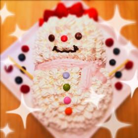 簡単クリスマスケーキ可愛い雪だるまキャラ