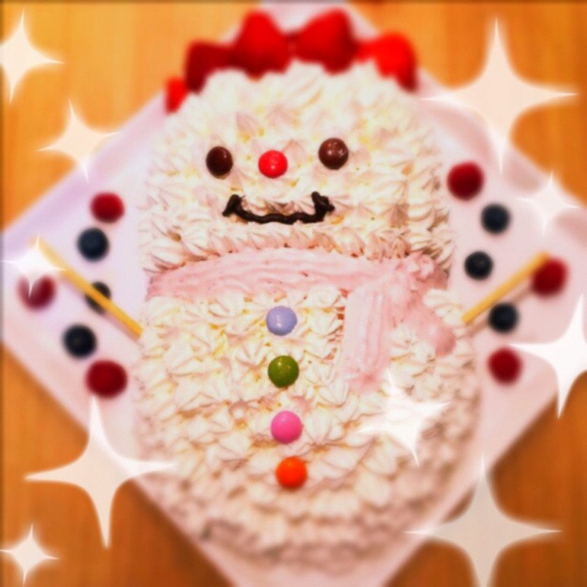 クリスマスケーキ簡単可愛い雪だるまキャラ