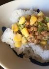 納豆とコーン&ブロッコリーのご飯