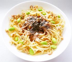 くるみ豆乳ソースの枝豆パスタ