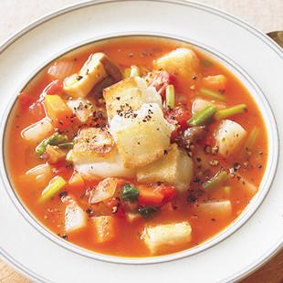 もちクルトン入りトマトスープ