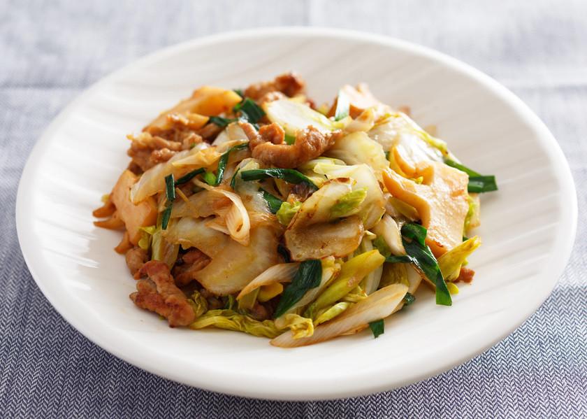 豚肉とたけのこ・白菜・長ねぎの味噌炒め