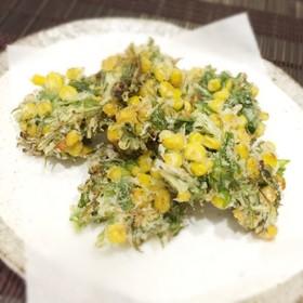 コーン缶と水菜の揚げ焼き