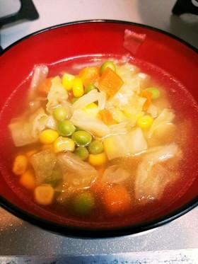 ミックスベジタブルで簡単コンソメスープ