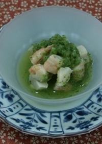 海老とホタテ貝の緑酢和え