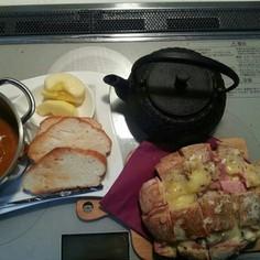 カンパーニュでチーズ・ベーコンちぎりパン