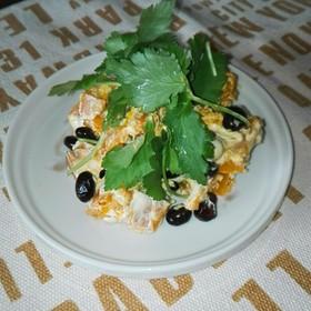 お節の残りで①カボチャと黒豆のサラダ
