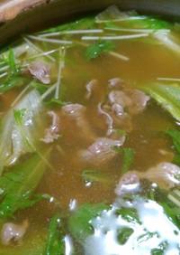 濃厚お茶液で牛肉レタス水菜しゃぶしゃぶ